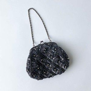 vintage black beaded coin purse clutch